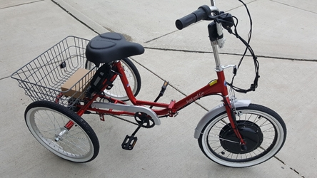 True Bicycle Fold and Go three speed electric trike
